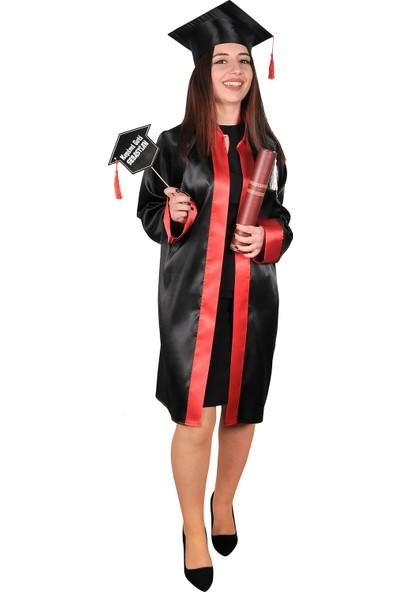 Mezuniyetshop Mezuniyet Cübbesi Lise Siyah Kırmızı Paket Ürün