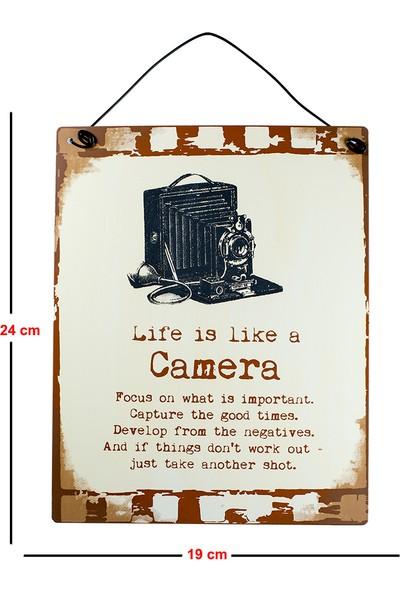 Carma Concept Lıfe Is Lıke Camera Metal Duvar ve Kapı Süsü- Retro Metal Pano