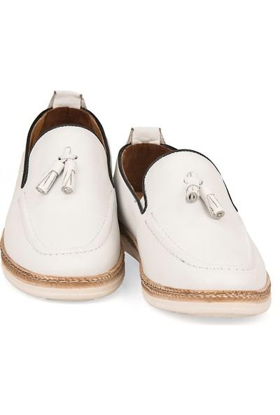 Ziya Erkek Deri Ayakkabı 101415 506067 Beyaz