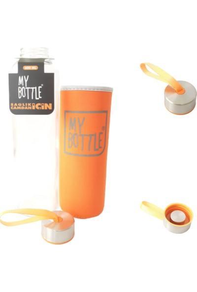 My Bottle Renkli Kılıflı Cam Matara 600 ml Turuncu