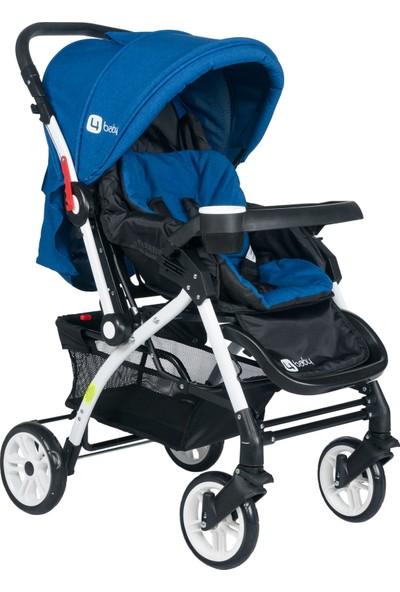 Four Baby 2019 Lüx Alüminyum Mama Tablalı Çift Yönlü Bebek Arabası - Mavi
