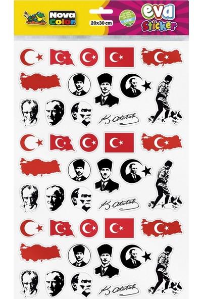 Nova Color 20 x 30cm Atatürk - Bayrak Eva Sticker