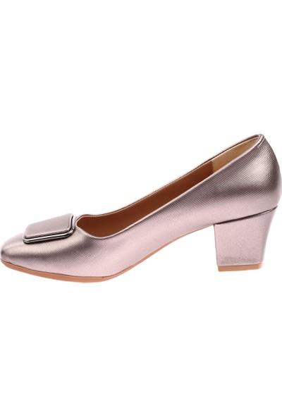 Dgn 220 Kadın Yuvarlak Burun Önü Tokalı Topuklu Ayakkkabı 20Y