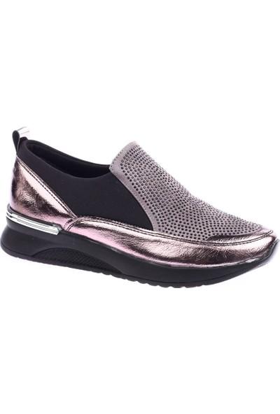 Dgn 8021 Kadın Önü Silver Taşlı Stretch Ayakkabı 20Y