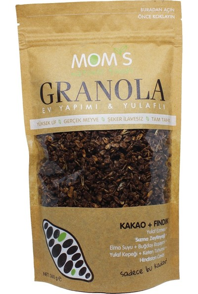 Mom's Natural Foods Granola Kakao Fındık 360 gr