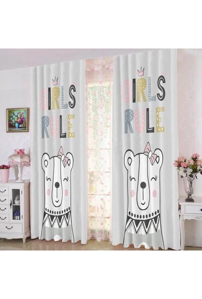 Efşan Sevimli Ayıcıklı 140 x 200 Çocuk Odası Fon Perde