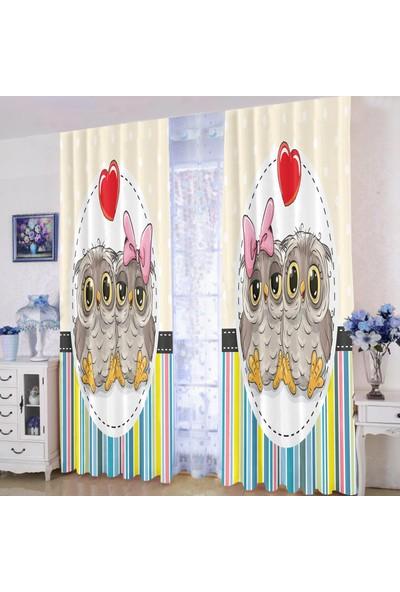 Efşan Baykuşlu 140 x 200 Çocuk Odası Fon Perde