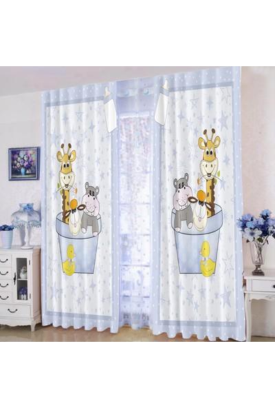 Efşan Sevimli Hayvanlar 140 x 200 Çocuk Odası Fon Perde