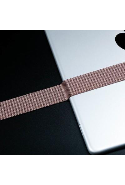 Robotekno Apple Watch Metal Kordon Milano Kayış Manyetik iWatch Uyumlu Milanese Seri 1   2   3   4   5 - 38mm/40mm - Altın