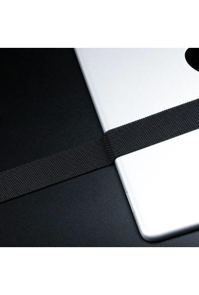 Robotekno Apple Watch Metal Kordon Milano Kayış Manyetik iWatch Uyumlu Milanese Seri 1   2   3   4   5 - 42mm/44mm - Siyah