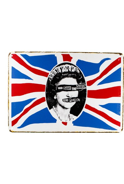 Carma Concept God Save The Queen Pistols Metal Duvar Konser Posterleri Retro Müzik Panoları