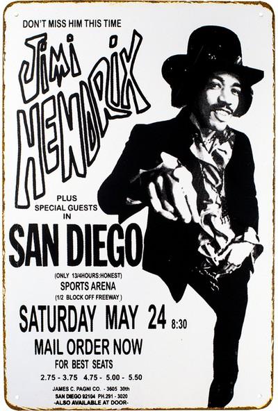 Carma Concept Jimi Hendrix Metal Duvar Konser Posterleri Retro Müzik Panoları
