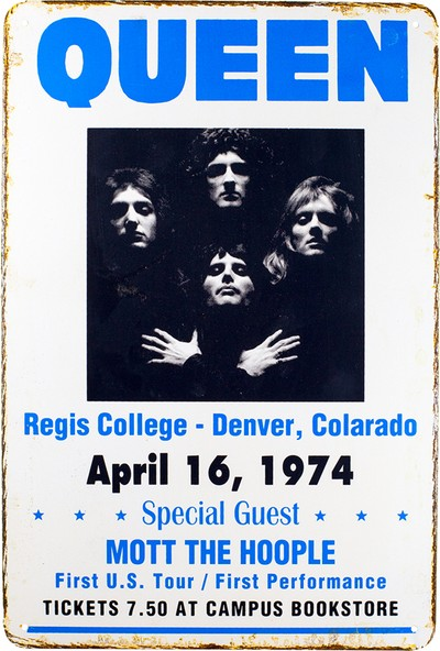 Carma Concept Queen Regis College Blue Metal Duvar Konser Posterleri Retro Müzik Panoları