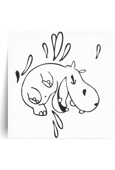 Hobi24 Desenli Pres Tuval Su Aygırı 20 x 20 cm