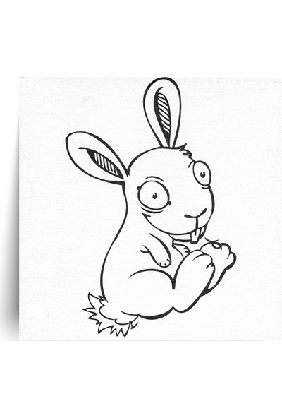 Hobi24 Desenli Pres Tuval Tavşan 20 x 20 cm