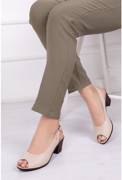 Tarçın Deri Bej Günlük Kadın Comfort Sandalet Ayakkabı Trc56-0610