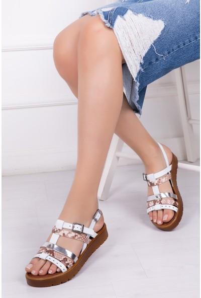 Tarçın Deri Beyaz Günlük Kadın Sandalet Ayakkabı Trc61-0090