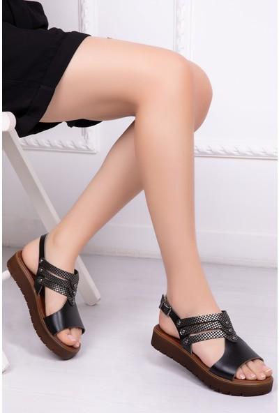 Tarçın Deri Siyah X3 Günlük Kadın Sandalet Ayakkabı Trc61-0095