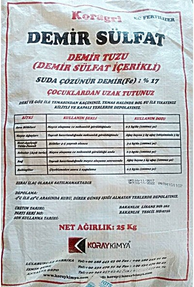 Koray Kimya Koragri Demir Sülfat