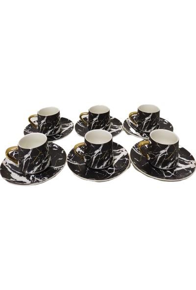 Acar Plus 6'lı Mermer Desenli Kahve Fincan Takımı