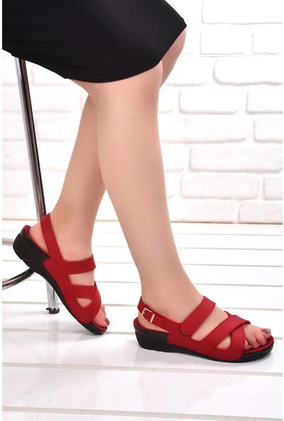 Ceyo Venedik 8 Günlük Anatomik Kadın Sandalet Kırmızı