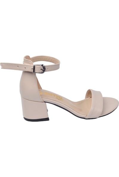 Ayakland Bsm 62 Cilt 5 Cm Topuk Kadın Sandalet Ayakkabı Ten