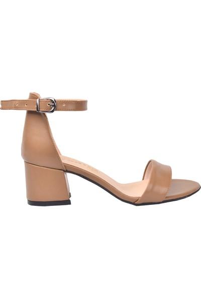 Ayakland Bsm 62 Cilt 5 Cm Topuk Kadın Sandalet Ayakkabı Vizon