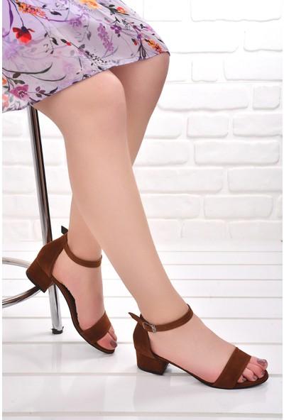 Ayakland 352 05 Süet 3 Cm Topuk Kadın Sandalet Ayakkabı Taba