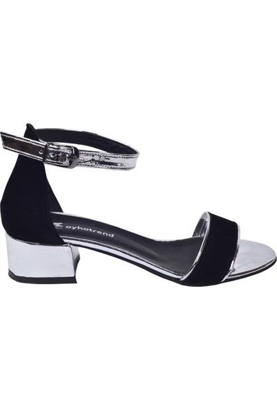 Ayakland 352 03 Ayna Süet 3 Cm Topuk Kadın Sandalet Ayakkabı Gümüş