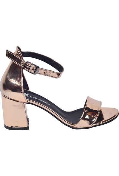Ayakland 2013 05 Ayna Rugan 7 Cm Topuk Kadın Sandalet Ayakkabı Bakır