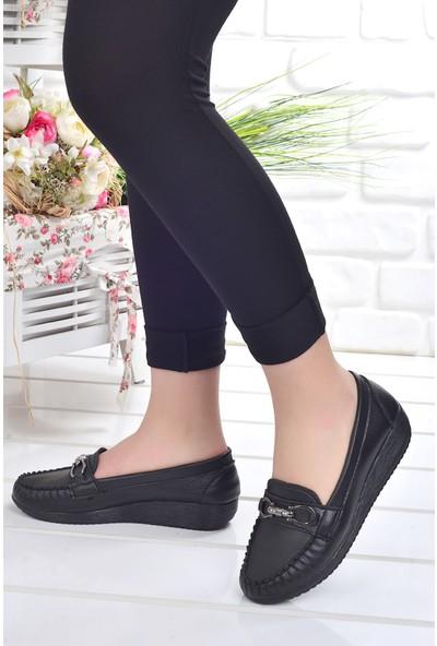 Annamaria T 09 Günlük Cilt Kadın Babet Ayakkabı Siyah