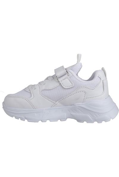 Ayakland S06 Günlük Fileli Cırtlı Erkek Çocuk Spor Ayakkabı Beyaz
