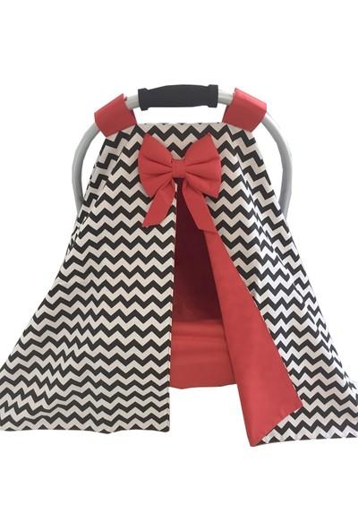 Modastra Siyah Zigzag ve Kırmızı Tasarım Puset Örtüsü ve Çarşafı