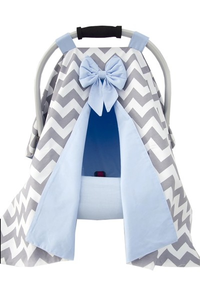 Modastra Gri ve Bebek Mavi Tasarım Puset Örtüsü ve Çarşafı
