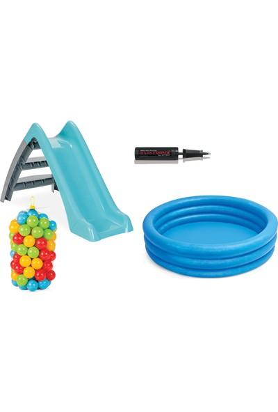 Vardem Kaydıraklı Oyun Seti (Mavi Havuz / 6 cm 100'lü Oyun Havuz Topu / Pompa / Mavi Kaydırak)