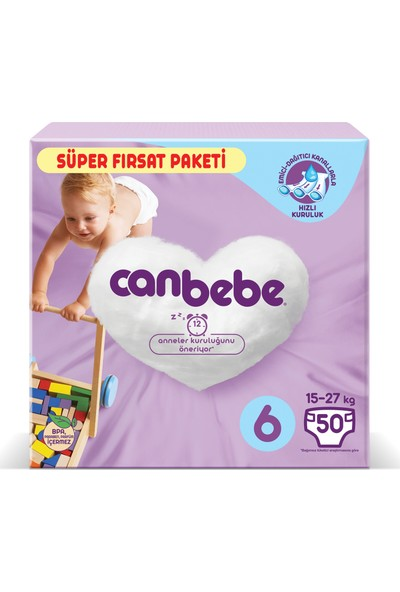 Canbebe Bebek Bezi Fırsat Paketi 6 Beden 50'li