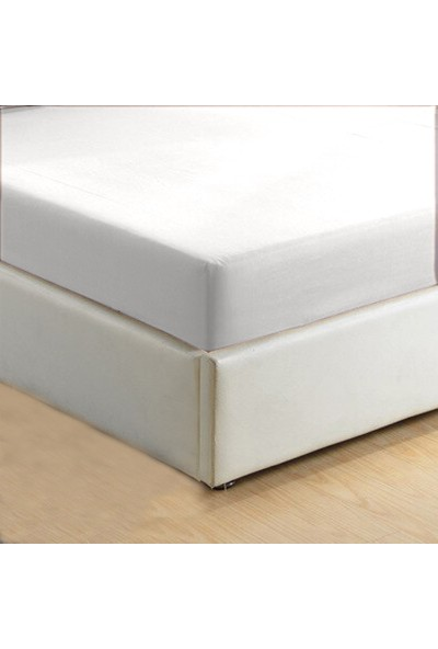 Monohome Pamuklu Beyaz Çift Kişilik Lastikli Çarşaf 180 x 200 cm