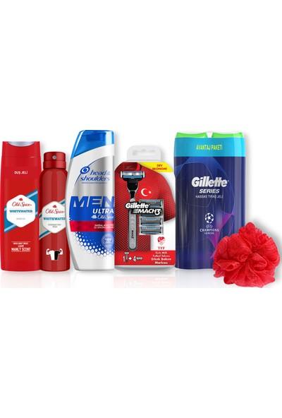 Head & Shoulders 360 ml Şampuan & Gillette Mach 3 Makine + 4'lü Bıçak & Old Spice 400 ml Duş Jeli & 150 ml Deodorant Whitewater + Gillette Sensitive Jel 200 ml + Duş Lifi