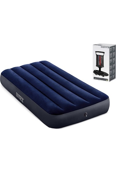 Intex 64756 Tek Kişilik Şişme Yatak / Kamp Yatağı + Pompa