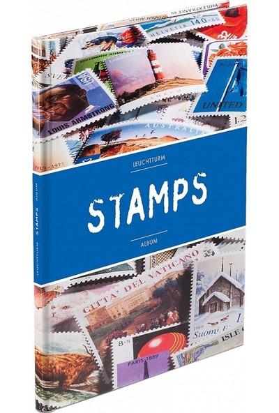 Leuchtturm Pul Defteri Stamps Motifli Mavi Kapak Beyaz Zemin
