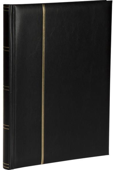 Leuchtturm Asitsiz Lüks Kağıt Para Albümü 15 Yaprak, 30 Sayfa, 60 Adet Bölme, Siyah Zemin - Siyah