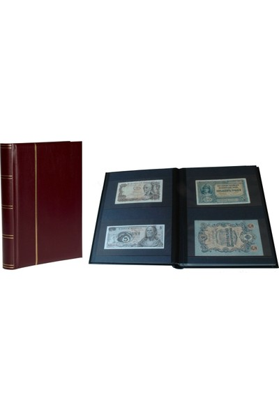 Leuchtturm Asitsiz Lüks Kağıt Para Albümü, 32 Yaprak, 64 Sayfa, 128 Adet Bölme Siyah Zemin - Koyu Yeşil