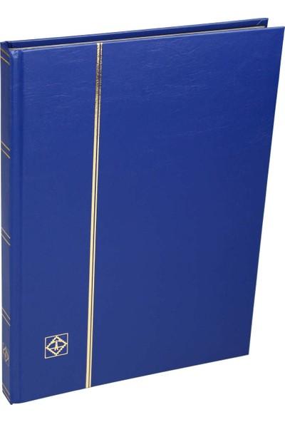 Leuchtturm Pul Defteri Basic Siyah Zemin Sert Kapak 16 Yaprak 32 Sayfa - Mavi - A4