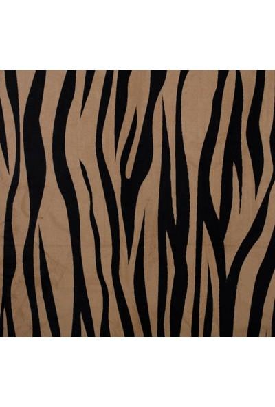 Ata Exclusive Fabrics Zebra Desenli Kadife Döşemelik Kumaş 1 m