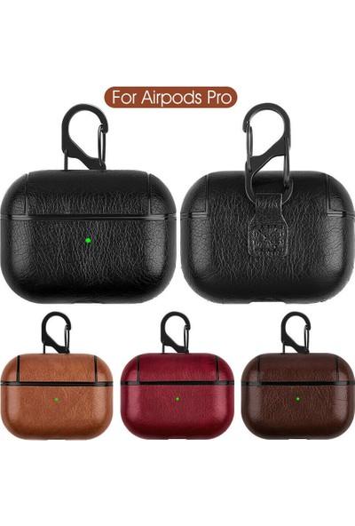 Omelo Apple Airpods Pro Kulaklık Koruma Deri Kılıf Siyah