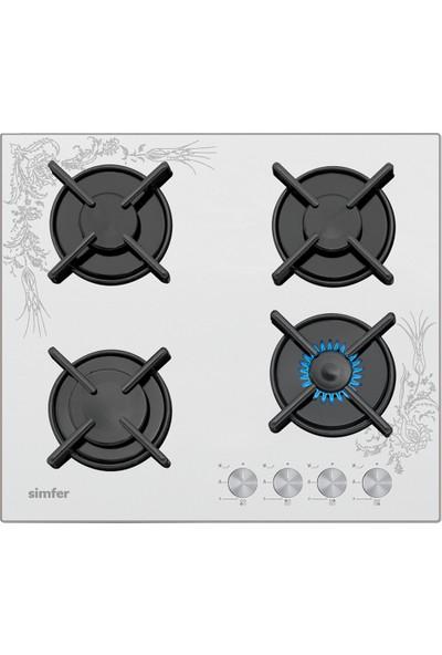 Simfer 3038 N Doğalgazlı Desenli Set Üstü Beyaz Cam Ocak