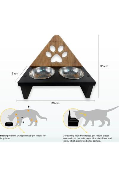 Odun Concept Ahşap Kedi Mama Kabı - Pati