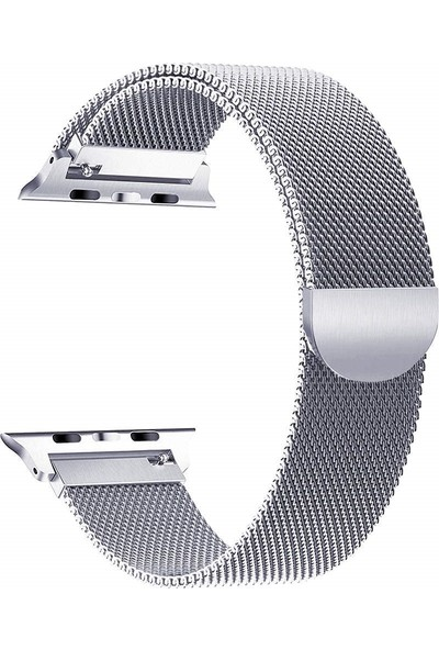 Robotekno Apple Watch Metal Kordon Milano Kayış Manyetik iWatch Uyumlu Milanese Seri 1 | 2 | 3 | 4 | 5 - 42mm/44mm - Gümüş