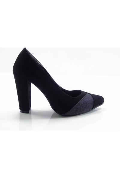 By Ercan 2960 Siyah Süet Stylish Topuklu Kadın Ayakkabı