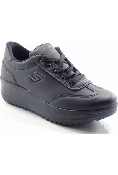 Parley 854 Siyah Yüksek Taban Fermuarlı Kadın Yürüyüş Ayakkabı
